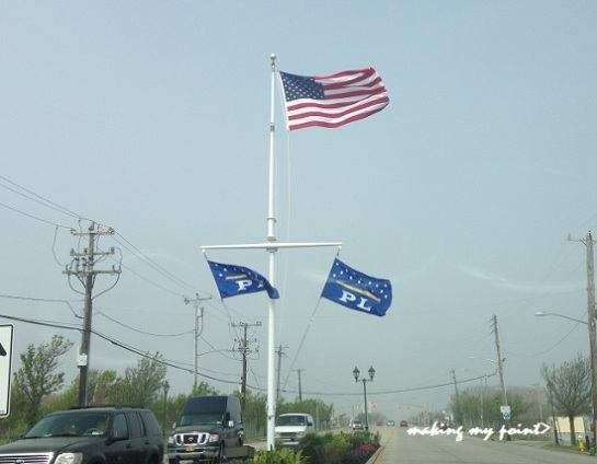 Flags flying at Village Gardeners Plaza