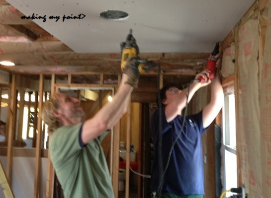 Eric and John getting ceilings done