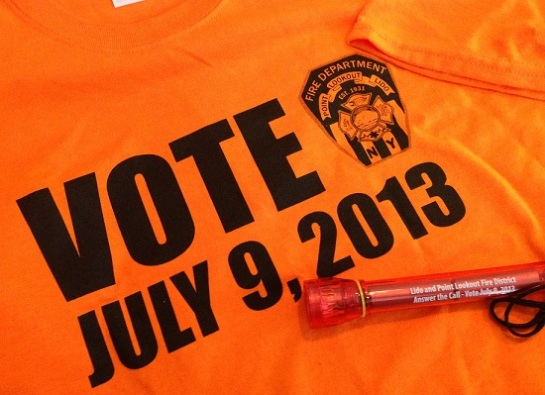 Vote in the Fire District Bond Issue, Today, Tuesday, Jul;y 9,2013